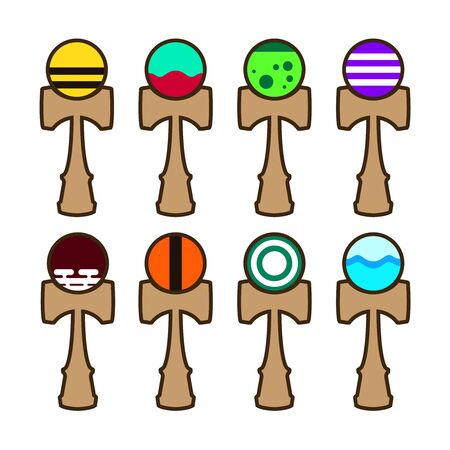 Several types of kendama icons for an online store.