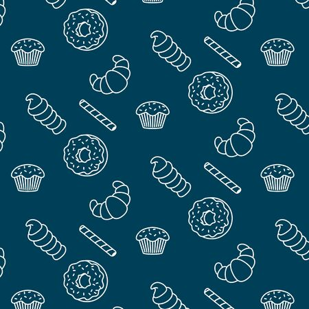 Pattern of randomly scattered sweets on a blue background. Can be used as in packaging, spider web as a board. Springing mood. Romanian atmosphere. Location for lovers