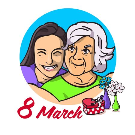 A post or a poster with the image of two women. A daughter hugs her mother. Tender and warm mood. Hugs of family people. Board for mother's day or March 8.Happy girl and cute grandmother