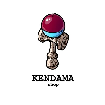 Bright and modern logo for the kendam store. Japanese fun toy made of wood.