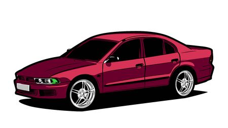 Japanese car in burgundy color. Big beautiful car wheels.Car in projection. Cheeky look of the car. Isolated on a white background. There is a place for inscription. Board for an auto parts store Ilustración de vector
