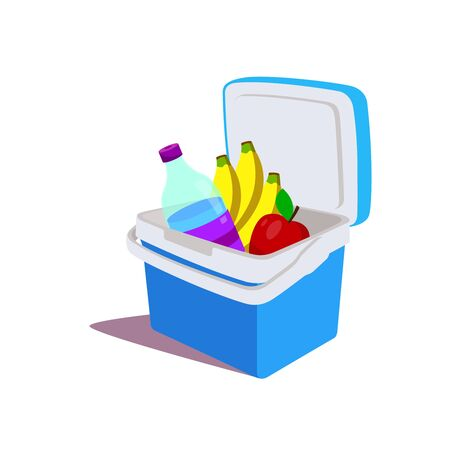 The blue portable refrigerator filled with fruit and drinks. The small fridge for a picnic or parties