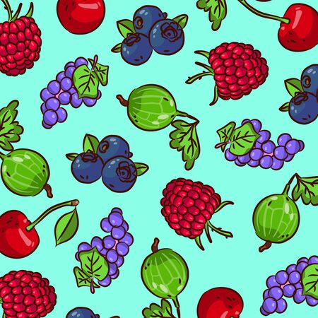 Pattern of various berries. Fresh mood. Bright colors of summer in a pattern of berries. Vitamin pattern from the gifts of summer