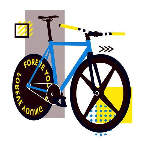 Bicycle in perspective with a blue frame. Fixed bike with a wheel for a trek. Wheel with blades. Stylish bike with a wide wheel. Youth bike. Sports mood.Background for a bike ride or context on bicycl