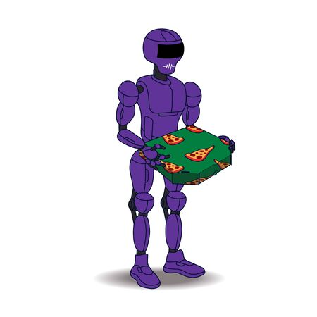 Purple robot with a pizza box in hand. The robot stands slightly turned like a human. Cyber ??food delivery. 向量圖像