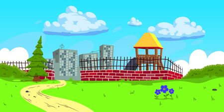Background glade with a children's slide, a brick fence and a Christmas tree. On the horizon the city. The background can be used in animation, cartoons and comics. Modern and bright style.