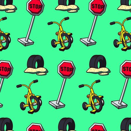 Stylized bright pattern for boys, consisting of road signs, bicycles and car tires. Vector graphics. The pattern can be used for packing gifts, covers for notebooks, for patterns of children's things Zdjęcie Seryjne - 145654430