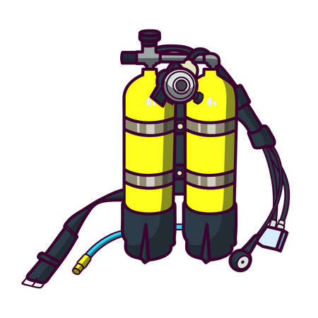 Yellow cylinders with air for the diver. Air tanks for immersion under water. Equipment for scuba divers. Yellow oxygen bottles for breathing underwater.
