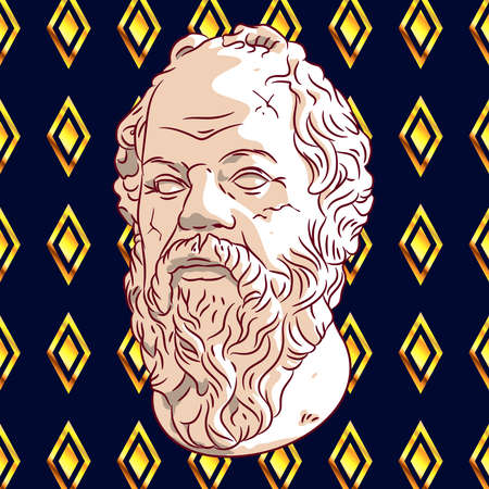 Old Greek philosopher on a blue background with golden rhombuses. Abstract image of a head with a beard and mustache. Bust of the philosopher soaring in the air. Bust of Socrates.