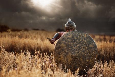 Incognito warrior going forward in attack. Archivio Fotografico