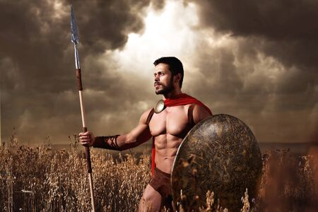 trojan: Warrior wearing like spartan holding iron weapon