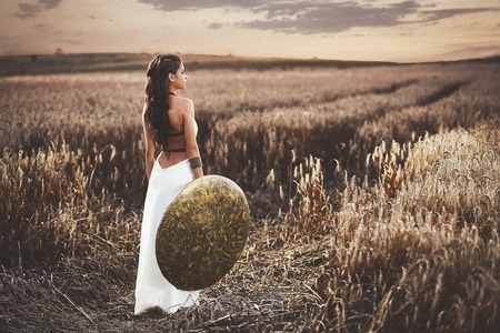 Back view of girl holding shield among grass in field. Standard-Bild