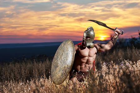 Incognito warrior like antique roman soldier.