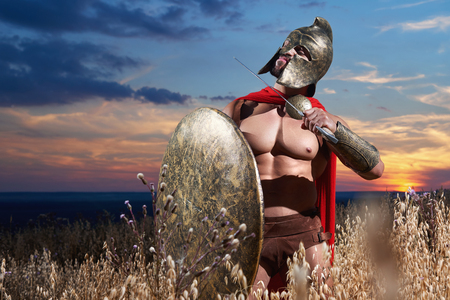 Warrior holding weapon near neck.