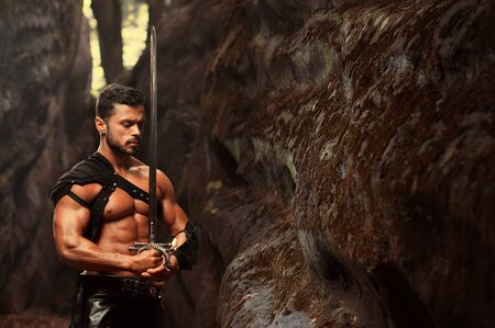 manly: Manly warrior at the mountains Stock Photo