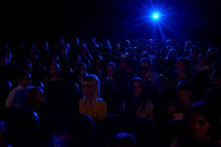 Children watching movies at the cinema Stock Photo
