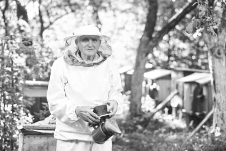apiculture: Senior beekeeper working at his apiary