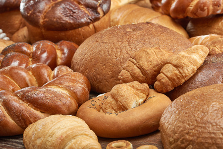 Assorted breads isolated on white Stock Photo