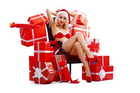 Snehurochka,sexy Santa Claus woman with presents