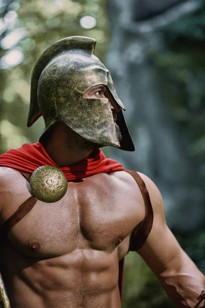Spartan warrior in the woods 스톡 콘텐츠