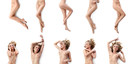 Collection set of gorgeous naked sexy blonde isolated on white