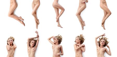 Conjunto de colección de hermosa rubia sexy desnuda aislada en blanco