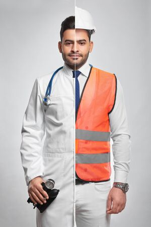 Combined photo of a constructionist and doctor Stock Photo