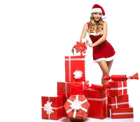 Stunning sexy blonde Santa girl