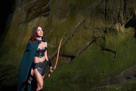 Mature Amazon warrior in the woods 版權商用圖片