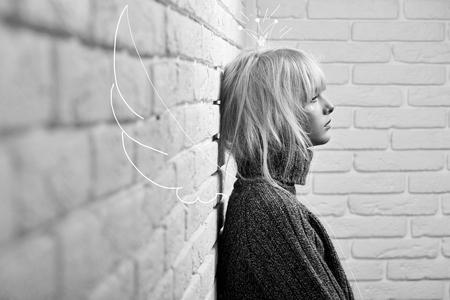 Gogeous blonde model posing sensually Archivio Fotografico