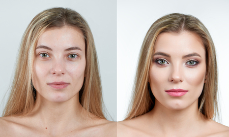 Comparison photo of a beautiful blonde girl without and with makeup. Stock Photo