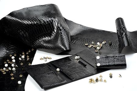 グランシーブラックレザーの作品は、多くのセクターを持つ女性の財布の近くに横たわっています。爬虫類の皮膚のように見える材料は白い背景に 写真素材