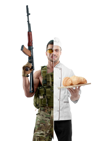 Comparison of chef modern soldier uniform. Chef wearing white chefs tunic, holing porcelain plate with fresh baked croissants. Soldier wearing military uniform, having  automatic machine gun. Stok Fotoğraf