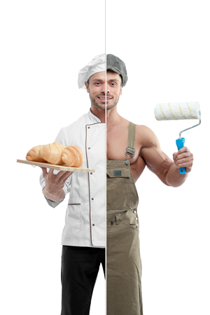 Photo comparison of painter and chef outfit. Painter holding white paint roller, wearing khaki uniform and cap. Chef wearing white chefs tunic, holing porcelian plate with fresh baked croissants. 免版税图像