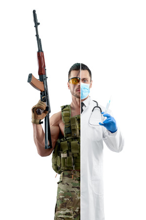 Comparison of doctor and soldier's profession outlook. Military man wearing khaki uniform,  automatic machine gun. Doctor wearing white medical gown, blue gloves and mask, having syringe.