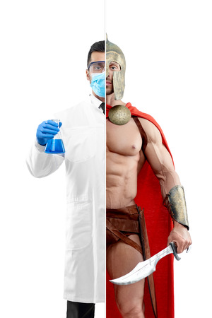 Photo comparison of chemist and ancient warrior outlook. Chemist wearing chemise gown, protective mask, gloves, keeping beaker. Ancient Spartan warrior wearing red cape and holding a matallic sword.