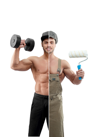 Photo comparison of fitnesstrainer and painter outfit. Bodybuilder holding heavy dumbbell, wearing black trousers, cap. Painter holding white paint roller, wearing khaki uniform and cap. 스톡 콘텐츠