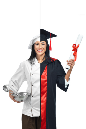 Young woman in two occupations of chef and graduate student isolated on white background. Cook wearing in white coat, holding bowl with tools. Other side graduate wearing mantle and holding diploma. Archivio Fotografico