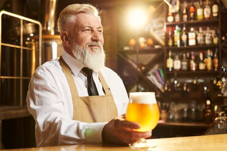 Cropped view of happy male brewer standing over bar and keeping glass of golden beer in hand. Man in white shirt and apron looking forward and smiling. Concept of ale production. 版權商用圖片