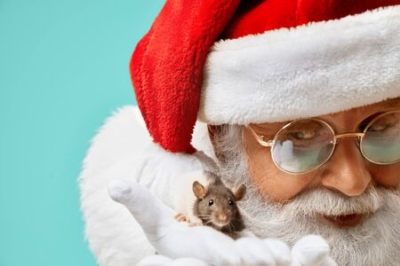 Portrait of authentic kind senior man in red Santa Claus costume, eyeglasses and white gloves showing little mouse right to the camera. Space for text, blue background.