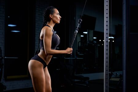 Side view of strong woman in black underswear with long braids training triceps and looking up. Attractive female with perfect body building muscles with crossover. Concept of sport, bodybuilding. Imagens