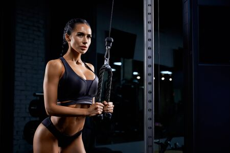 Side view of strong fitness woman in black sportswear with long braids training triceps. Attractive female with perfect makeup and body building muscles with crossover. Concept of sport, bodybuilding. Imagens
