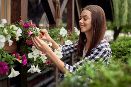Selective focus of young smiling female gardener using small scissors to cut lovely plants with flowers in flowerpots outdoors. Portrait of pretty girl in casual outfit taking care of backyard plants.