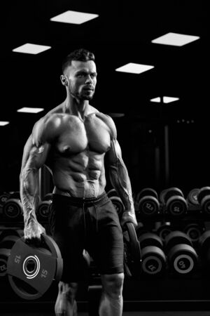 Side view of shirtless tensed male bodybuilder carrying weights in arms. Monochrome portrait of handsome sportsman with perfect muscular body posing in gym in dark atmosphere. Concept of bodybuilding.