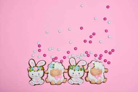 From above view of small colorful chocolate balls in crispy sugar shell isolated on pink background. Easter ginger glazed cookies in shape of bunnies in wreaths and sheep in row. Holidays concept.