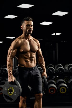 Side view of shirtless tensed incognito male bodybuilder holding weights in arms. Close up of caucasian sportsman with perfect muscular body posing in gym in dark atmosphere. Concept of bodybuilding. 写真素材