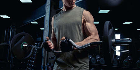 Front view of incognito bodybuilder training biceps with barbell. Crop of muscular handsome sportsman with perfect body posing in gym in dark atmosphere. Concept of bodybuilding. 写真素材