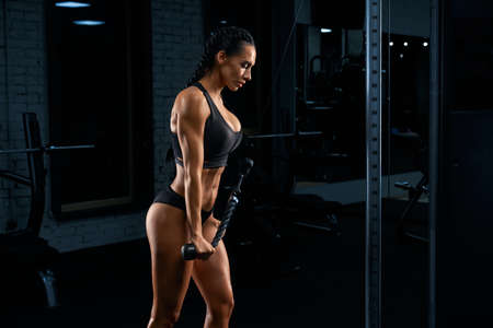 Side view of strong fitness woman in black sportswear with long braids training triceps. Attractive female with perfect body building muscles with crossover. Concept of sport, bodybuilding.