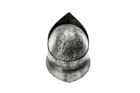 Back from above view of ancient iron spartan helmet isolated on white studio background. Medieval armor, archeological souvenir from past, metal tough head protection.