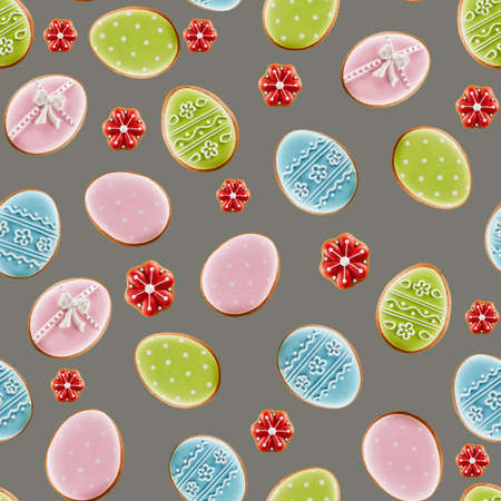 From above view of colorful ginger glazed tasty cookies isolated on gray background. Close up of homemade lovely delicious pastry in shape of easter eggs and small red flowers. Stock fotó